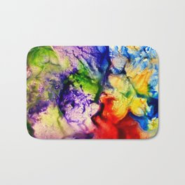 Abstract Encaustic Colorful Flowers, Bath Mat
