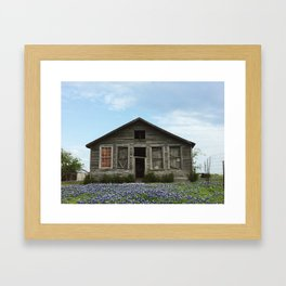 An old house covered by blue bonnets Framed Art Print
