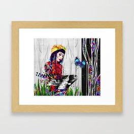 Girl and antelope Framed Art Print