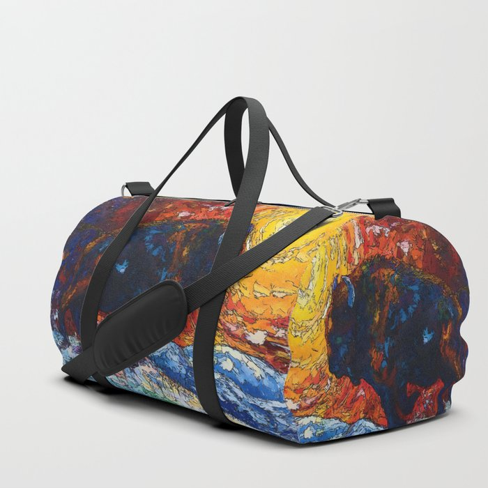Bison Running print of OLena Art Wild the Storm Oil Painting With Palette Knife #society6 Duffle Bag