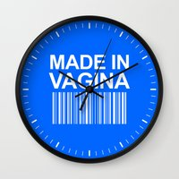 vagina Wall Clocks featuring MADE IN VAGINA BABY FUNNY BARCODE (Baby Boy Blue) by CreativeAngel