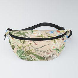 Hibiscus, Orchid, Rosebuds - White Blue Green Fanny Pack