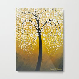 White Cherry Blossom Tree Metal Print