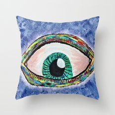 Technicolor Eye Throw Pillow