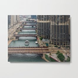 Bridges on Chicago River Metal Print