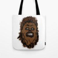 chewbacca Tote Bags featuring Chewbacca by MuDesignbyMugeBaris