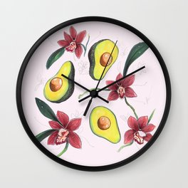 Avocados & Orchids Wall Clock