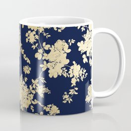 Elegant vintage navy blue faux gold flowers Coffee Mug