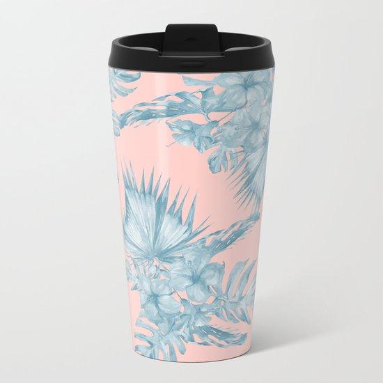 Dreaming of Hawaii Pale Teal Blue on Millennial Pink Metal Travel Mug