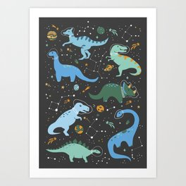 Dinosaurs in Space in Blue Art Print