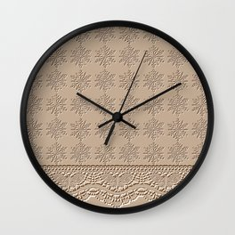 Lace and Stars in Coffee Color Chenille Pattern Wall Clock