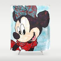minnie Shower Curtains featuring Minnie Mouse Fan Art by DanielleArt&Design