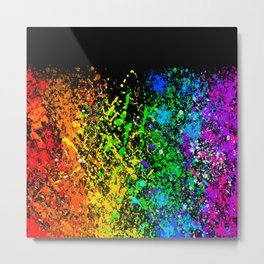 Black Rainbow Color Splatter Metal Print
