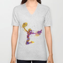 young woman cheerleader 03 Unisex V-Neck