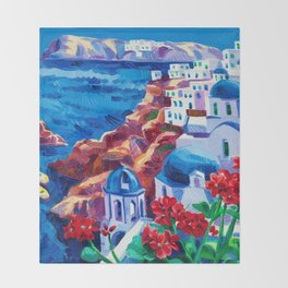 Santorini churches Throw Blanket