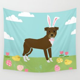 Pitbull dog breed easter spring pet portrait pibble rescue dog lovers Wall Tapestry