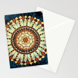 Sketched Mandala Design On A Blue Textured Background Stationery Cards