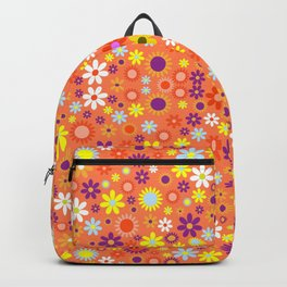 Living Coral Colorful Floral Pattern Backpack