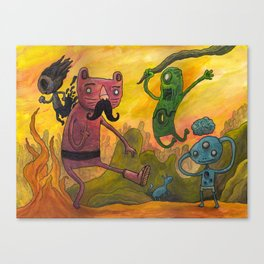 Hipster Puss & Boot Canvas Print