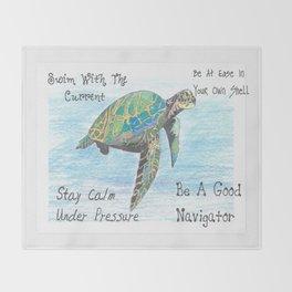 """Sea Turtle Wisdom"" Throw Blanket"