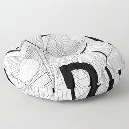 History of Art in Black and White. Postmodern Floor Pillow