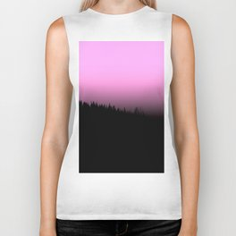 Pink sky in the forest Biker Tank