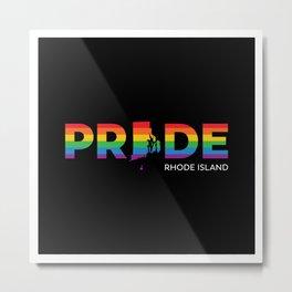 Rhode Island LGBTQ Pride (Black) Metal Print