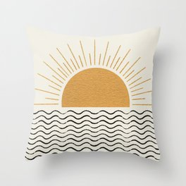 Sunrise Ocean -  Mid Century Modern Style Throw Pillow