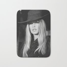 Brigitte Bardot with Black Hat Retro Vintage Art Bath Mat