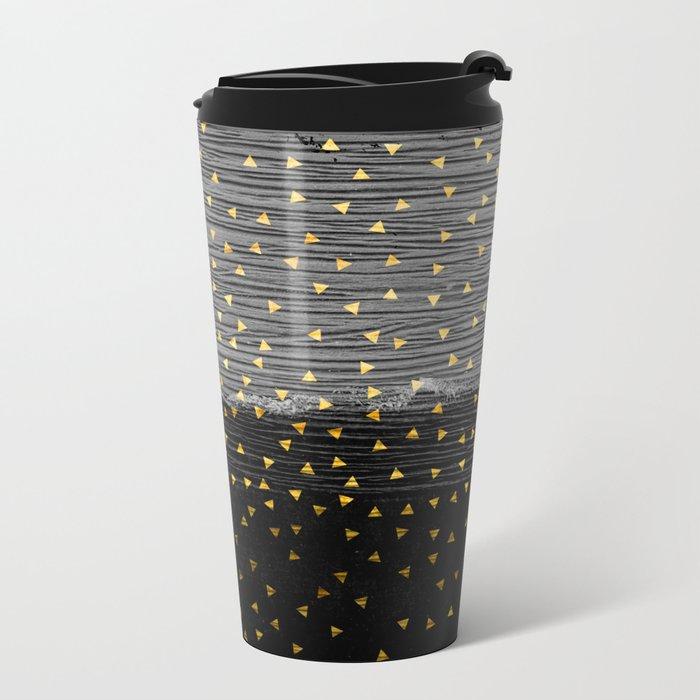 Charcoal Slate Confetti Metal Travel Mug