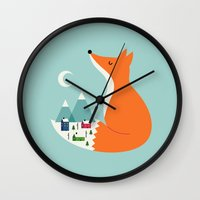 dreams Wall Clocks featuring Winter Dreams by Andy Westface