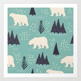 Polar Bears and Christmas Trees Art Print