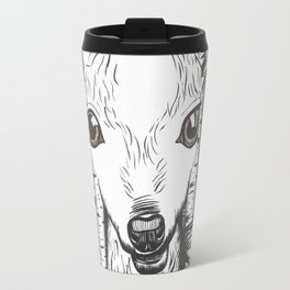 Ink and watercolor black and white doe in the forest Travel Mug