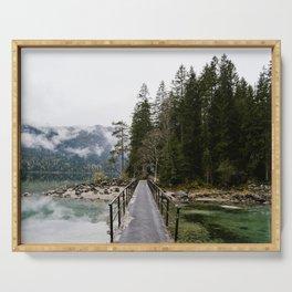 Lake bridge to nature - art print Serving Tray