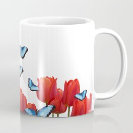 Red tulips with blue morph butterflies Coffee Mug