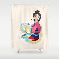 mulan Shower Curtains featuring Mulan: Reflection by Minette Wasserman