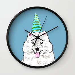 Samoyed with Party Hat Wall Clock