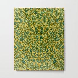Green Botanical Damask Metal Print