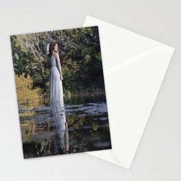 Lady in white standing on the water Stationery Cards