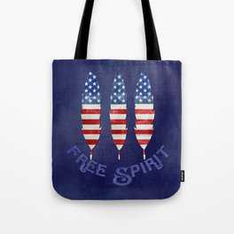 American Flag Stars and Stripes Free Spirit Feather Tote Bag