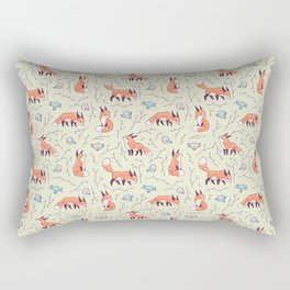 Fox and Bird Pattern Rectangular Pillow