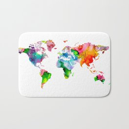 Watercolor World Map Bath Mat