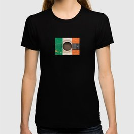 Old Vintage Acoustic Guitar with Irish Flag T-shirt