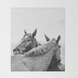 Two Horses Throw Blanket
