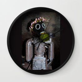 Household robot with gasmask Wall Clock