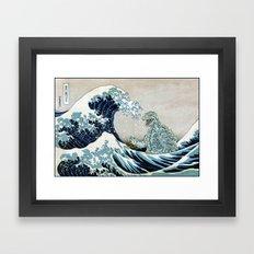 Godzilla Off Kanagawa Framed Art Print