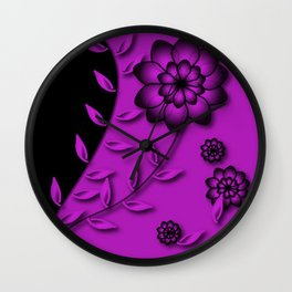 Dazzling Violet Floral Abstract Wall Clock