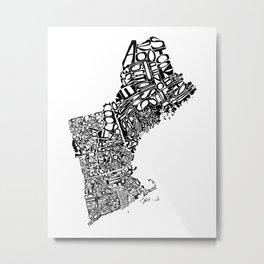 Typographic New England Metal Print
