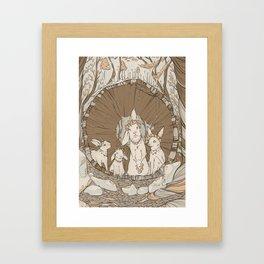 Spring Time Celebrating Rabbits Framed Art Print
