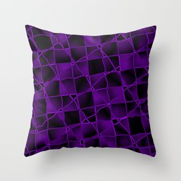 Mirrored gradient shards of curved violet intersecting ribbons and dark lines. Throw Pillow